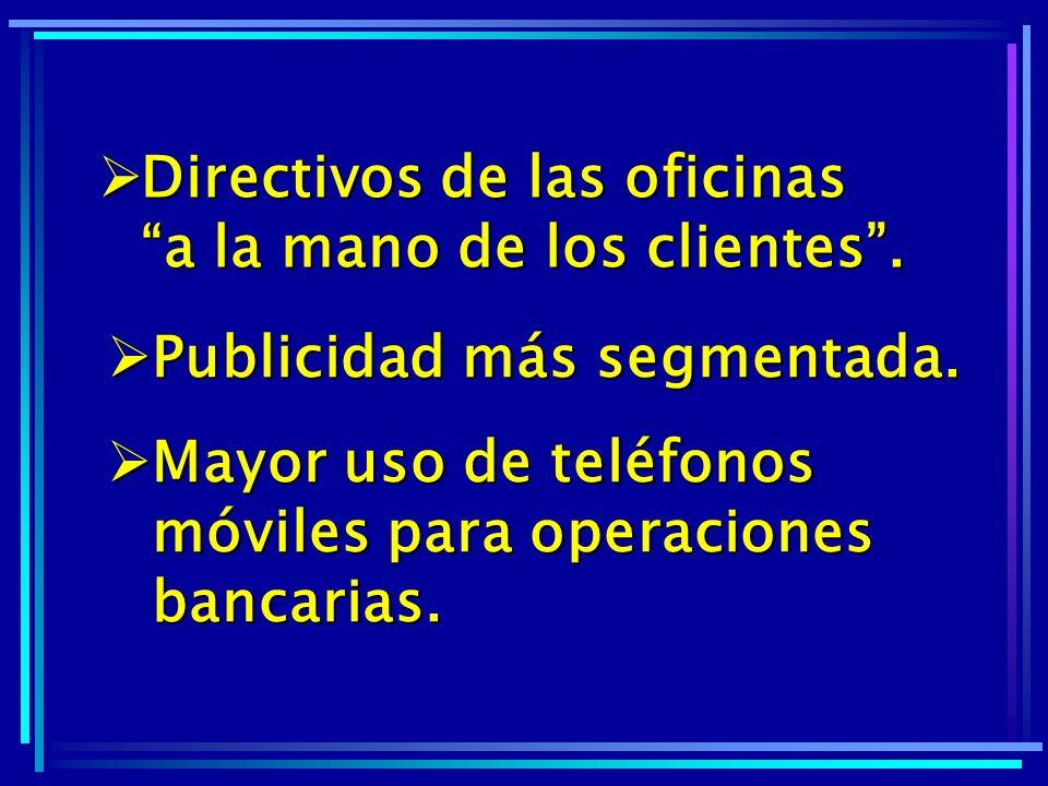 Directivos de las oficinas a la mano de los clientes .