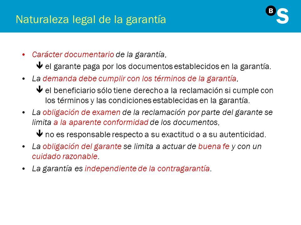 Naturaleza legal de la garantía