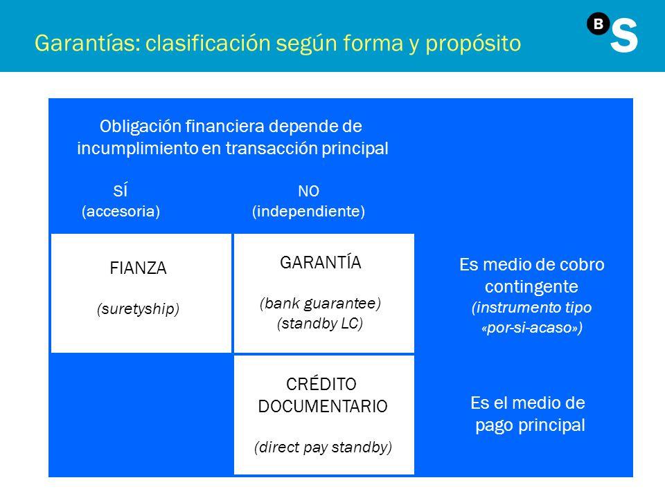 Garantías: clasificación según forma y propósito