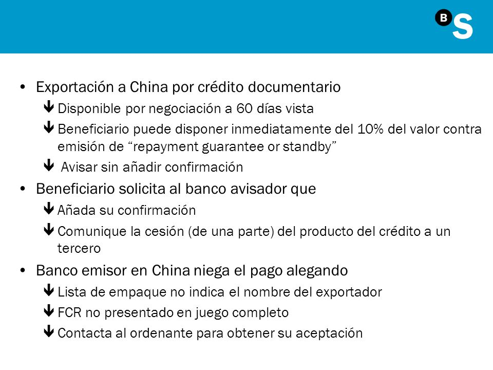 Exportación a China por crédito documentario