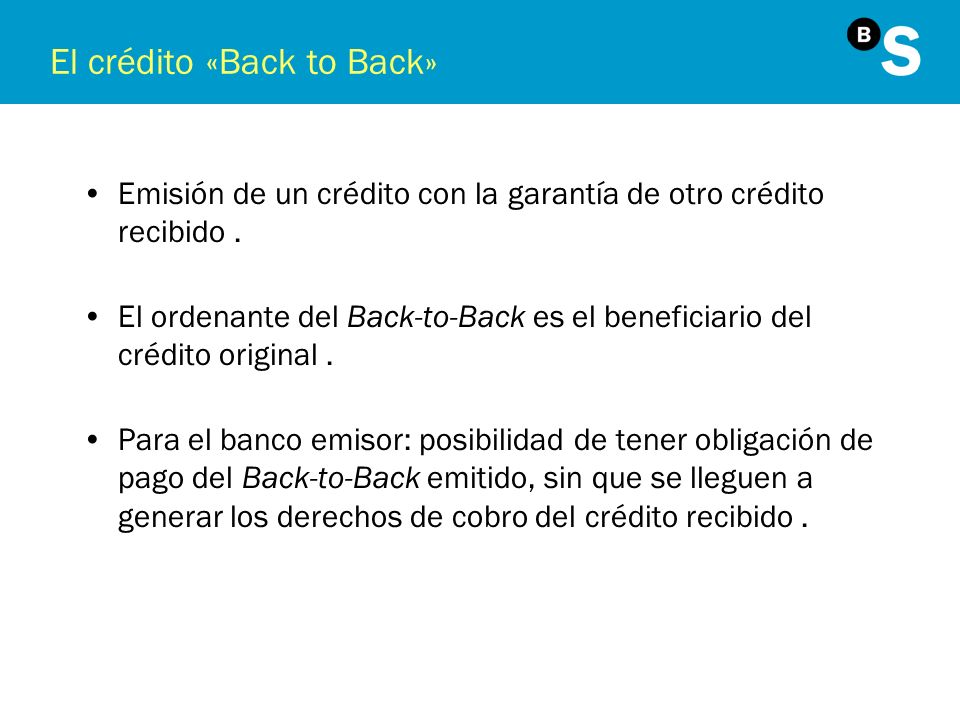 El crédito «Back to Back»