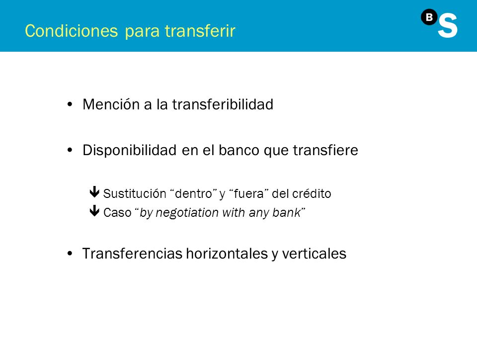 Condiciones para transferir