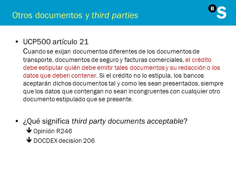 Otros documentos y third parties