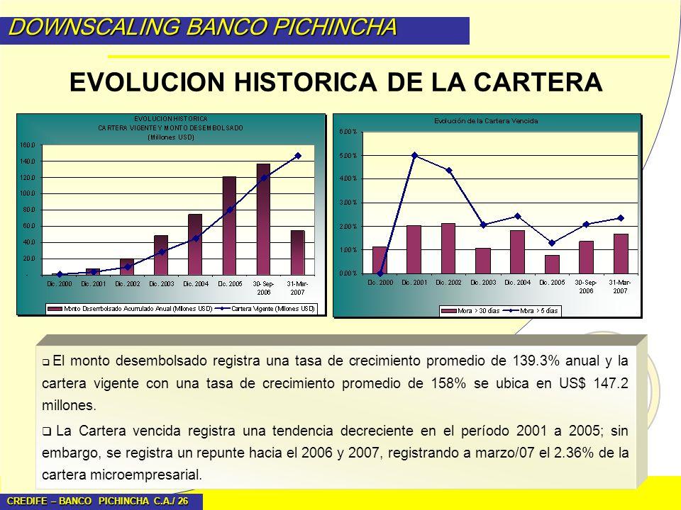EVOLUCION HISTORICA DE LA CARTERA