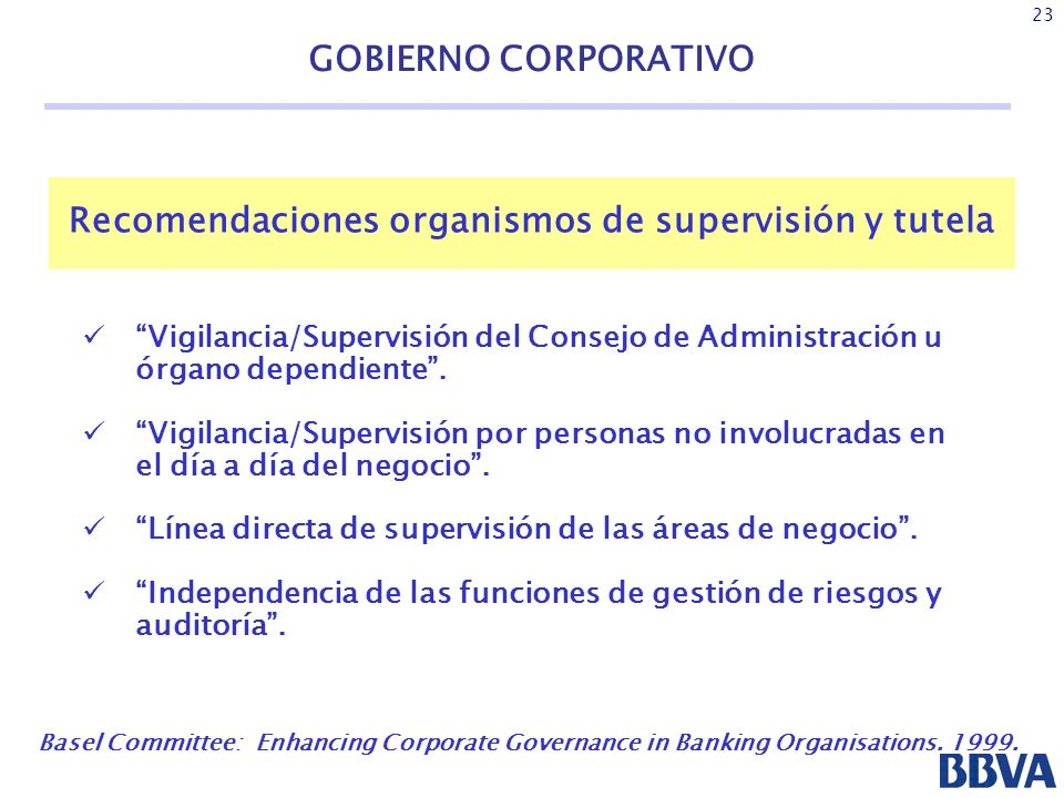 Recomendaciones organismos de supervisión y tutela