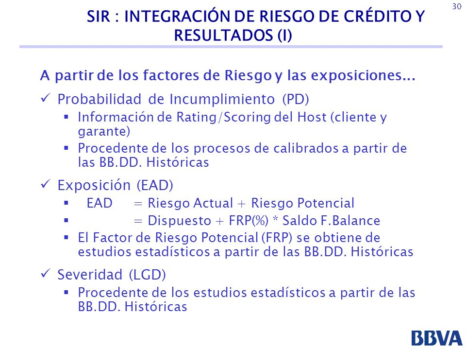 SIR : INTEGRACIÓN DE RIESGO DE CRÉDITO Y RESULTADOS (I)