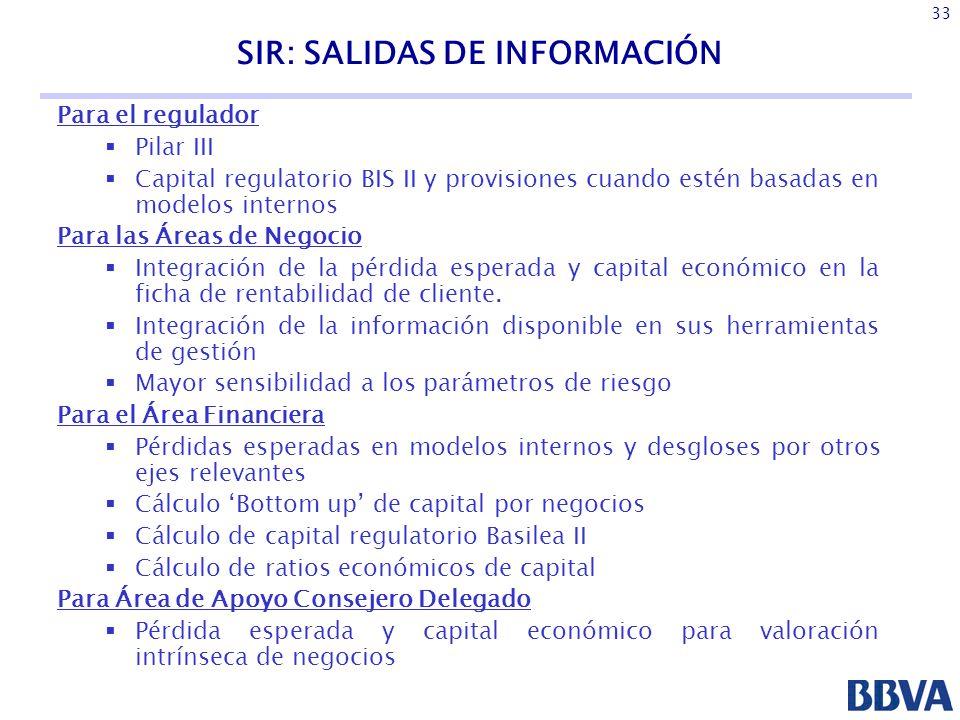 SIR: SALIDAS DE INFORMACIÓN