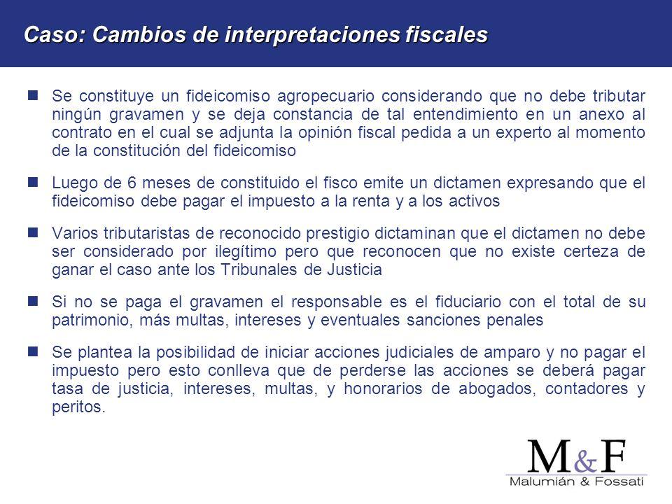 Caso: Cambios de interpretaciones fiscales