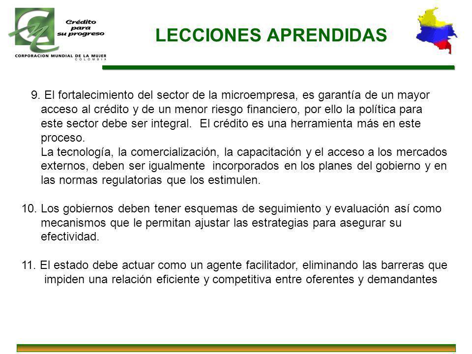 LECCIONES APRENDIDAS 9. El fortalecimiento del sector de la microempresa, es garantía de un mayor.