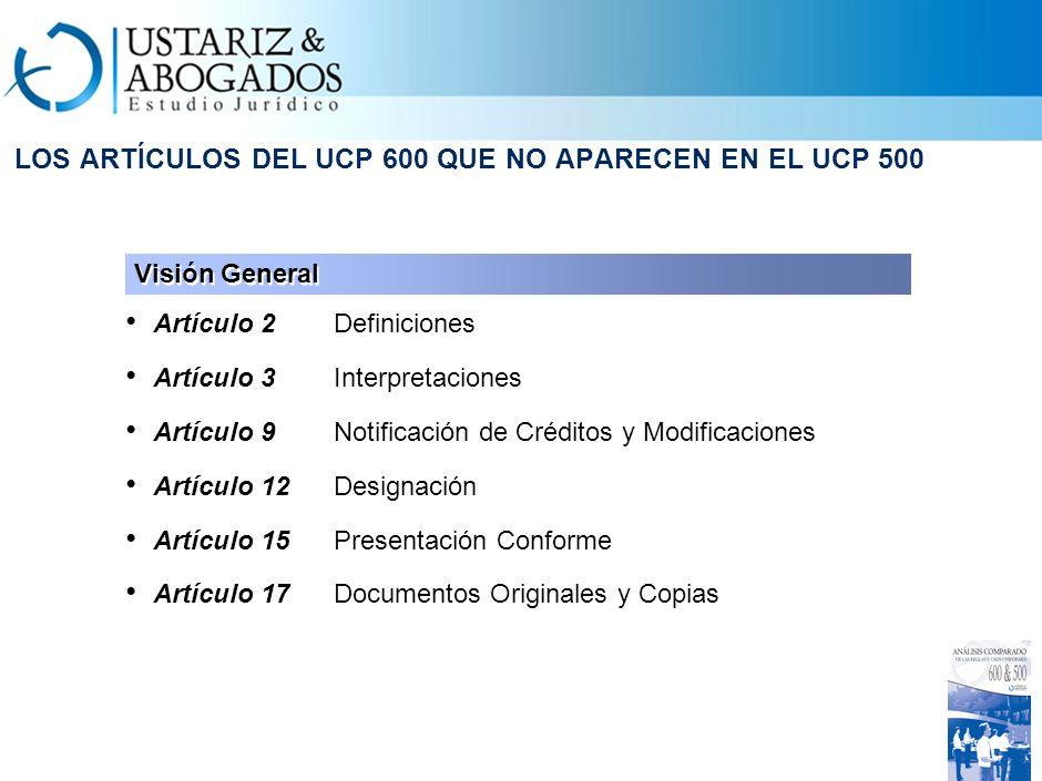 LOS ARTÍCULOS DEL UCP 600 QUE NO APARECEN EN EL UCP 500