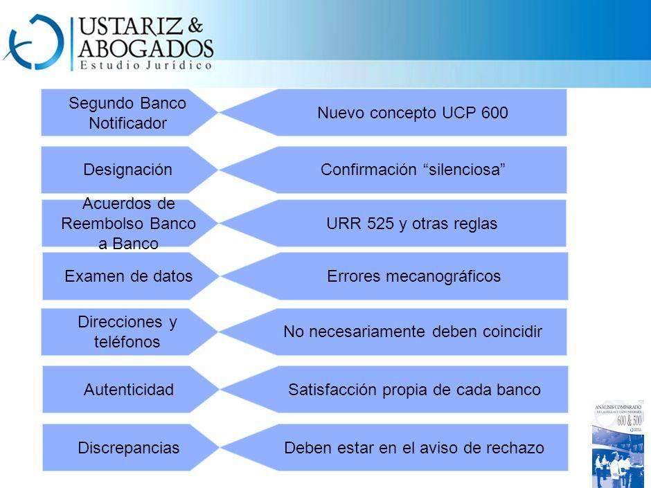 Segundo Banco Notificador Nuevo concepto UCP 600