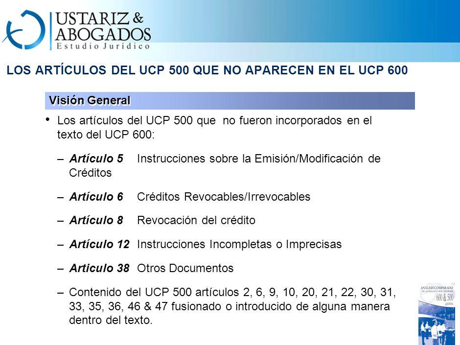 LOS ARTÍCULOS DEL UCP 500 QUE NO APARECEN EN EL UCP 600