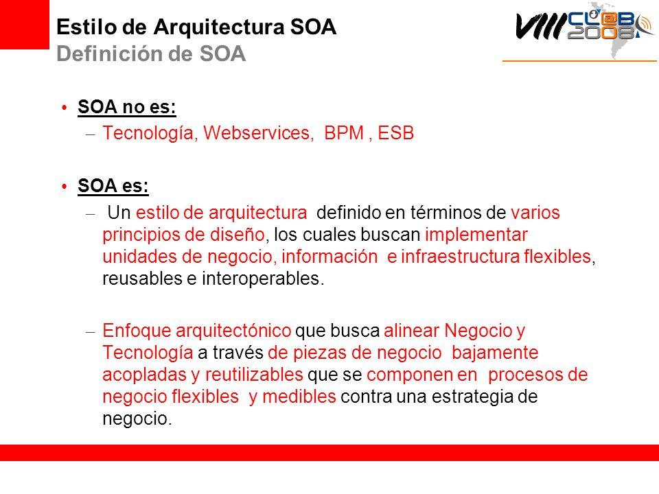 Estilo de Arquitectura SOA Definición de SOA