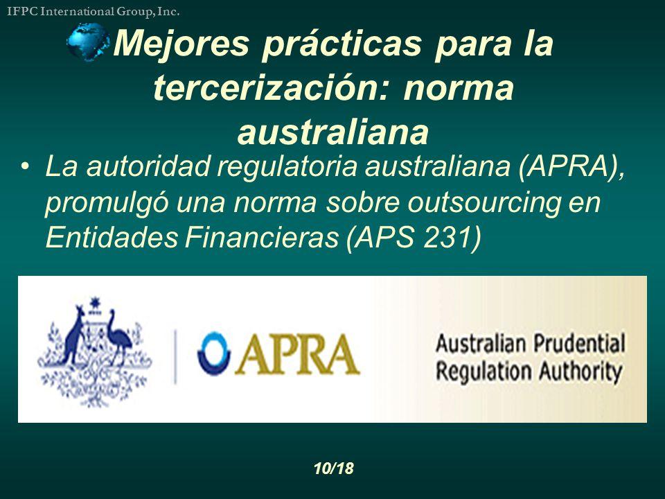 Mejores prácticas para la tercerización: norma australiana