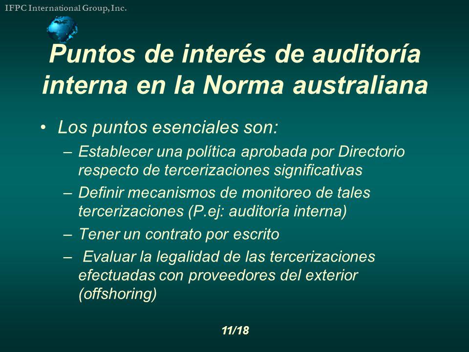 Puntos de interés de auditoría interna en la Norma australiana
