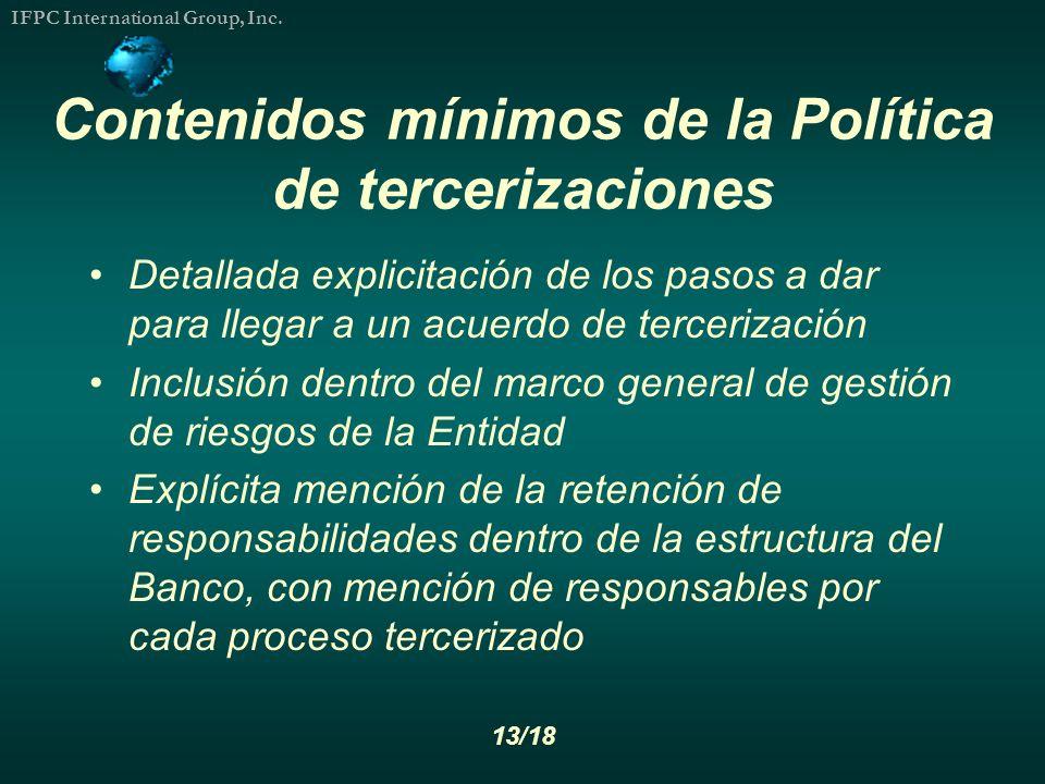 Contenidos mínimos de la Política de tercerizaciones