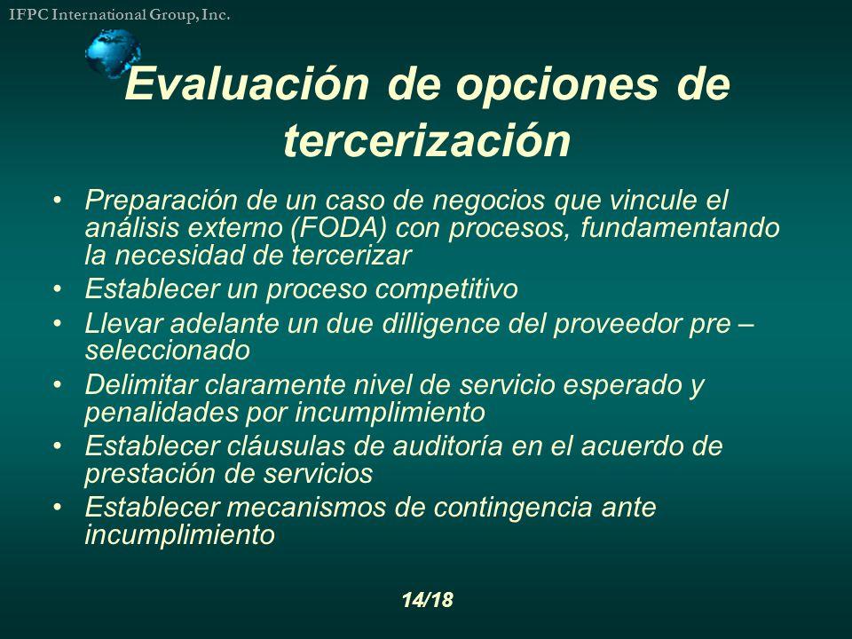 Evaluación de opciones de tercerización