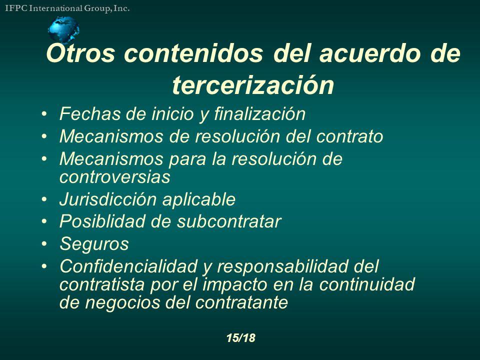 Otros contenidos del acuerdo de tercerización