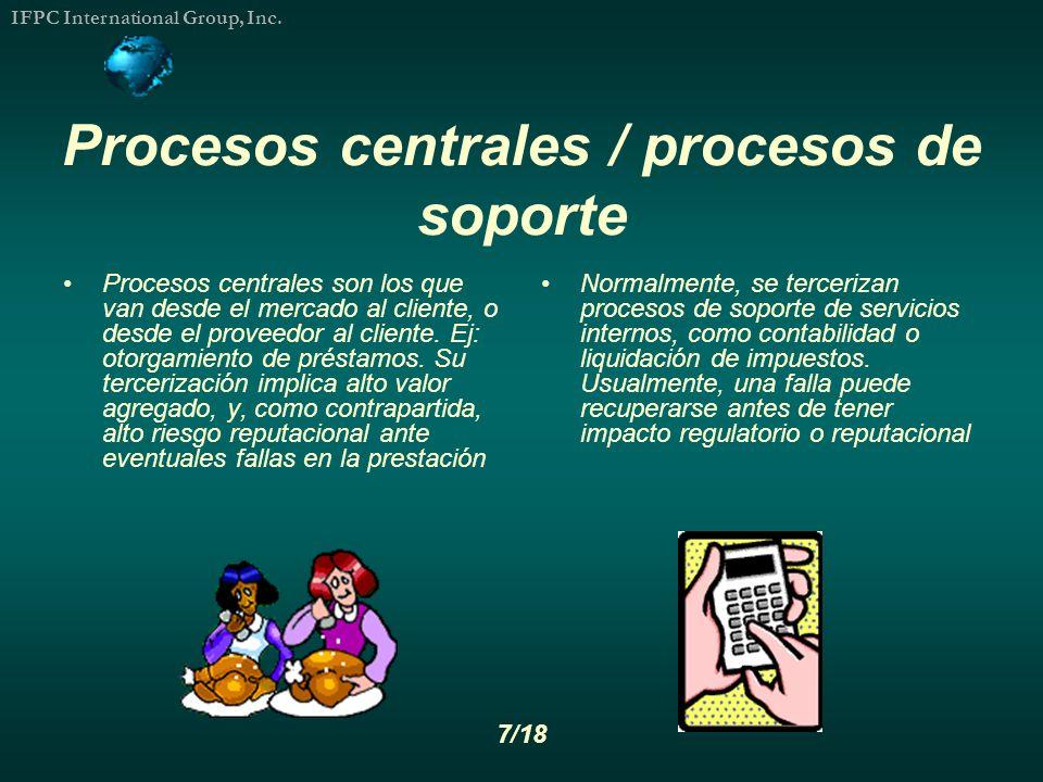 Procesos centrales / procesos de soporte