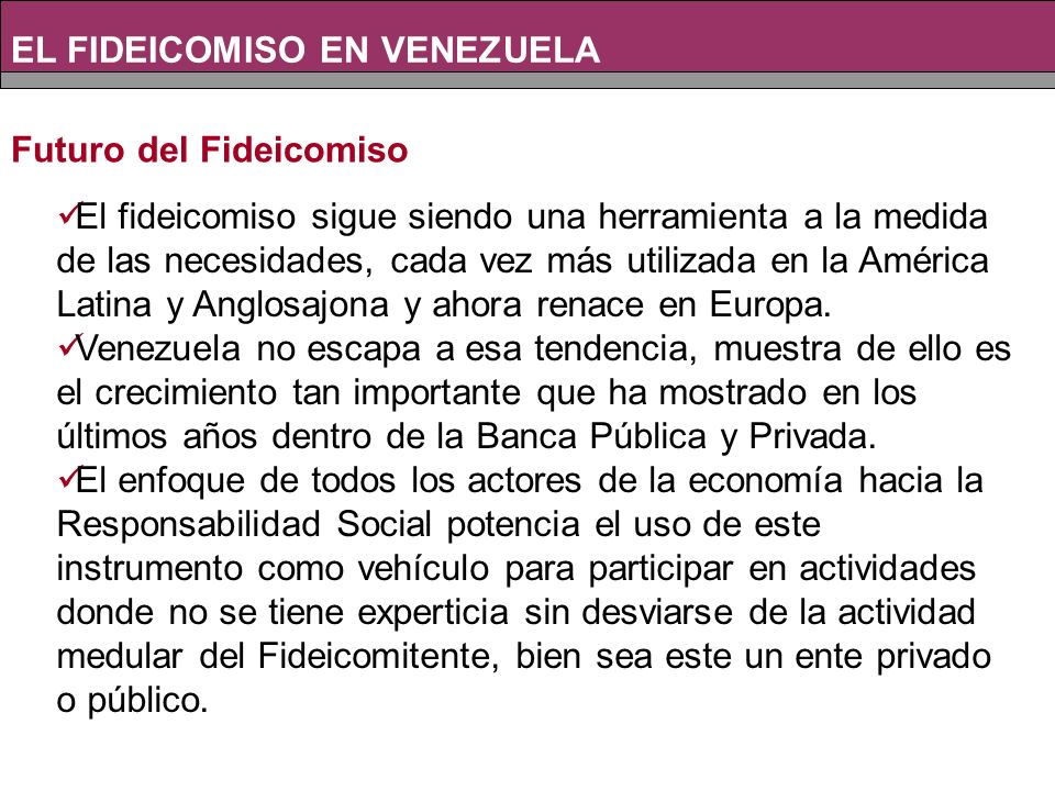 EL FIDEICOMISO EN VENEZUELA