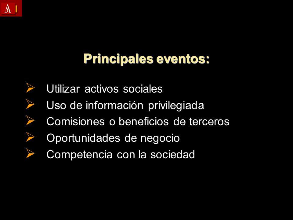 Principales eventos: Utilizar activos sociales