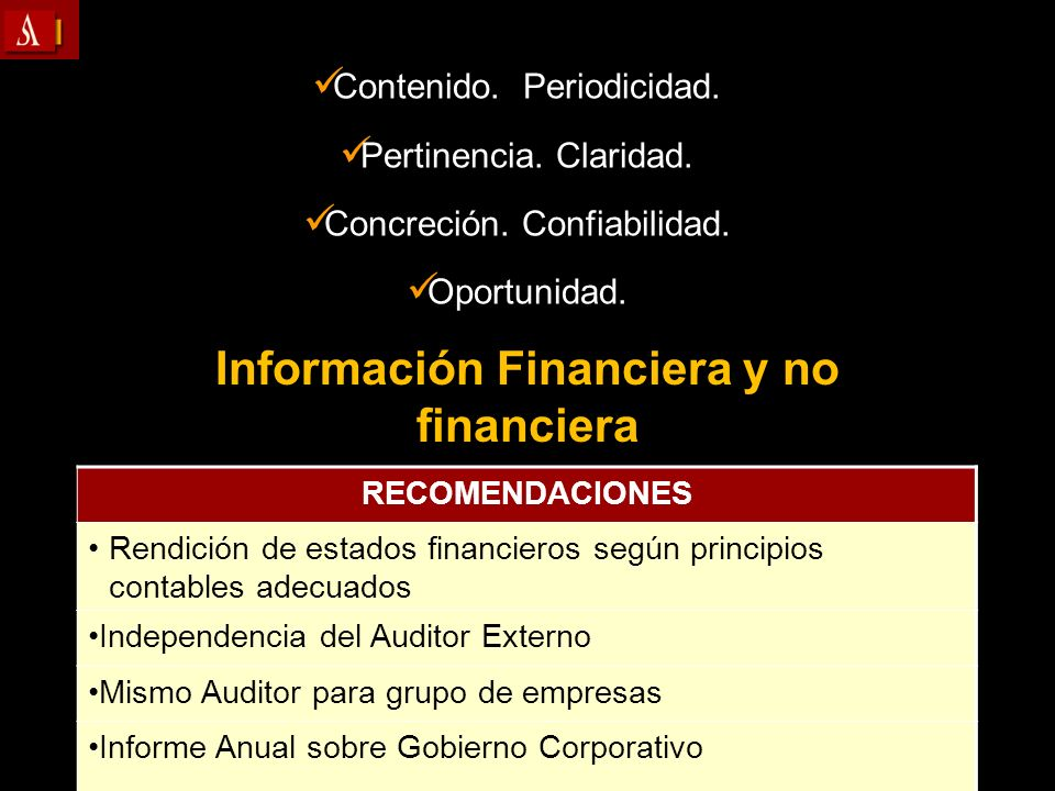 Información Financiera y no financiera