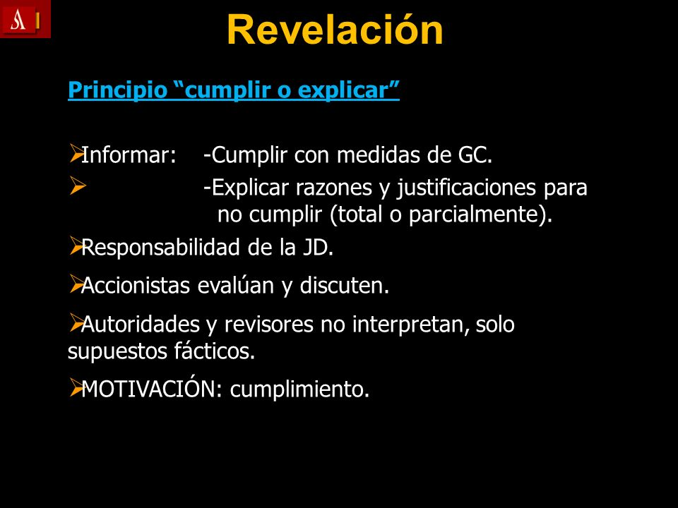 Revelación Principio cumplir o explicar