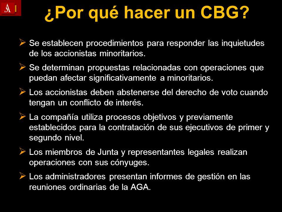 ¿Por qué hacer un CBG Se establecen procedimientos para responder las inquietudes de los accionistas minoritarios.