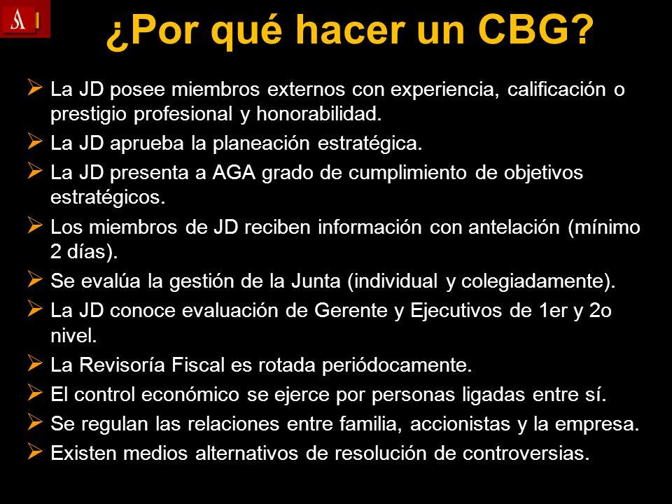 ¿Por qué hacer un CBG La JD posee miembros externos con experiencia, calificación o prestigio profesional y honorabilidad.