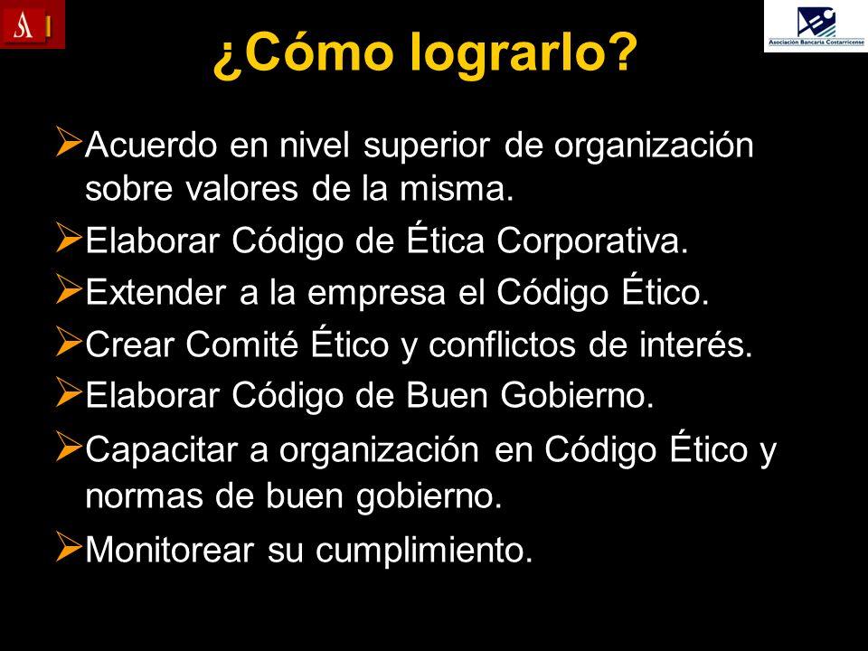 ¿Cómo lograrlo Acuerdo en nivel superior de organización sobre valores de la misma. Elaborar Código de Ética Corporativa.