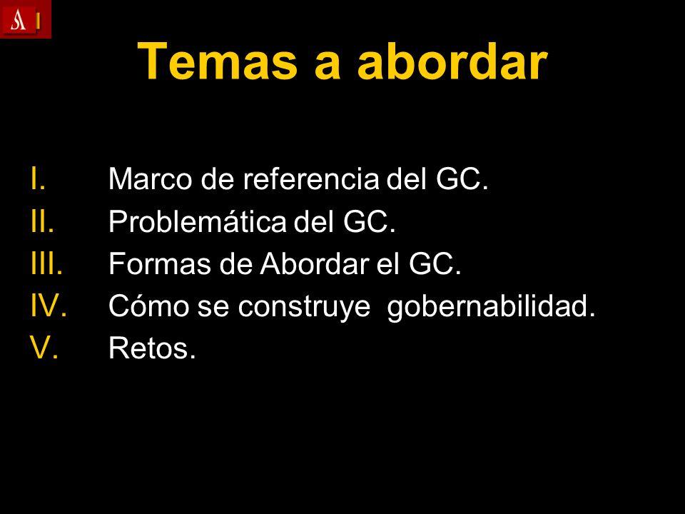 Temas a abordar Marco de referencia del GC. Problemática del GC.