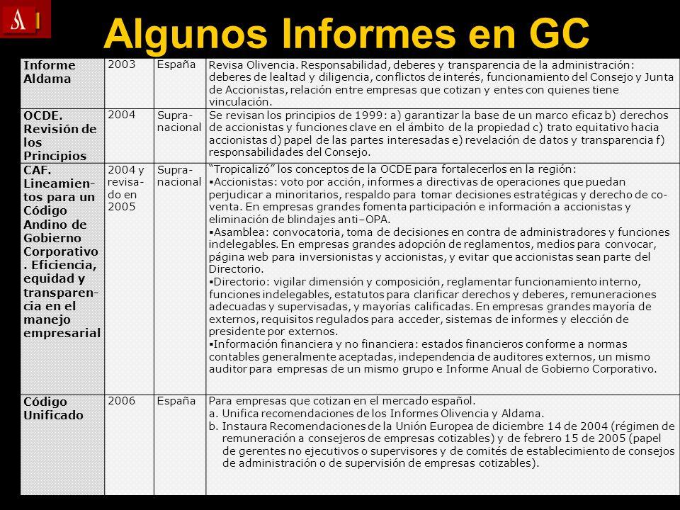 Algunos Informes en GC Informe Aldama OCDE. Revisión de los Principios