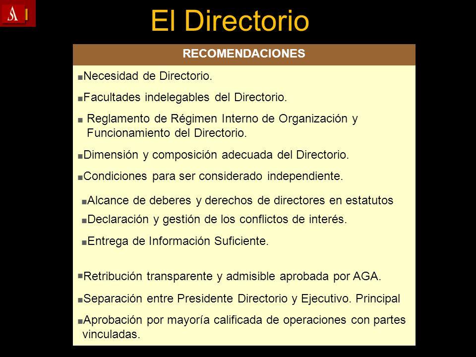 El Directorio RECOMENDACIONES Necesidad de Directorio.