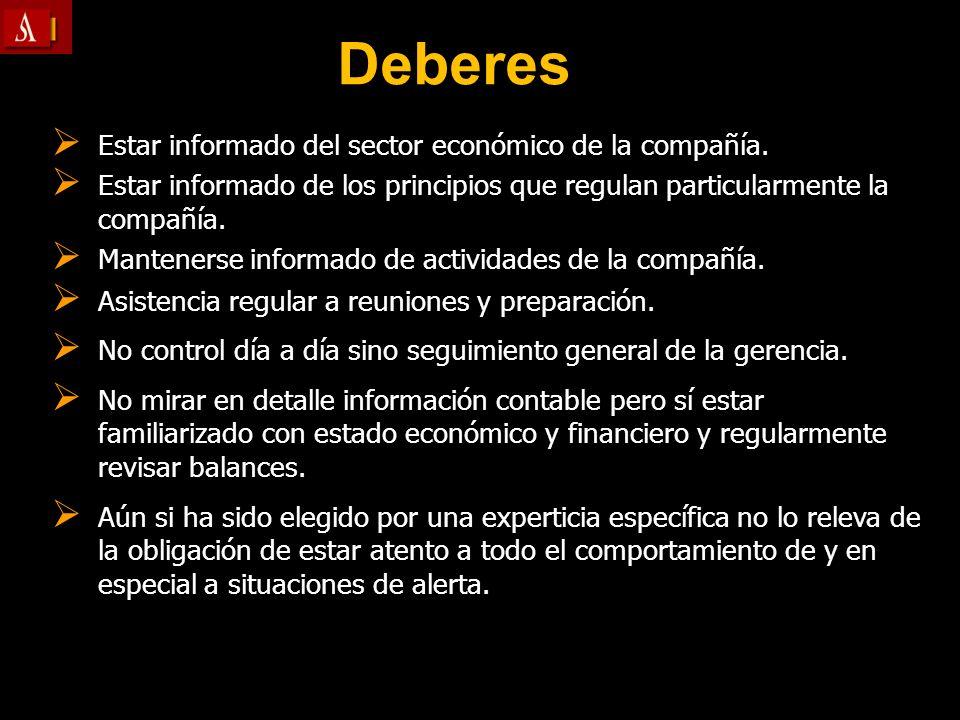 Deberes Estar informado del sector económico de la compañía.