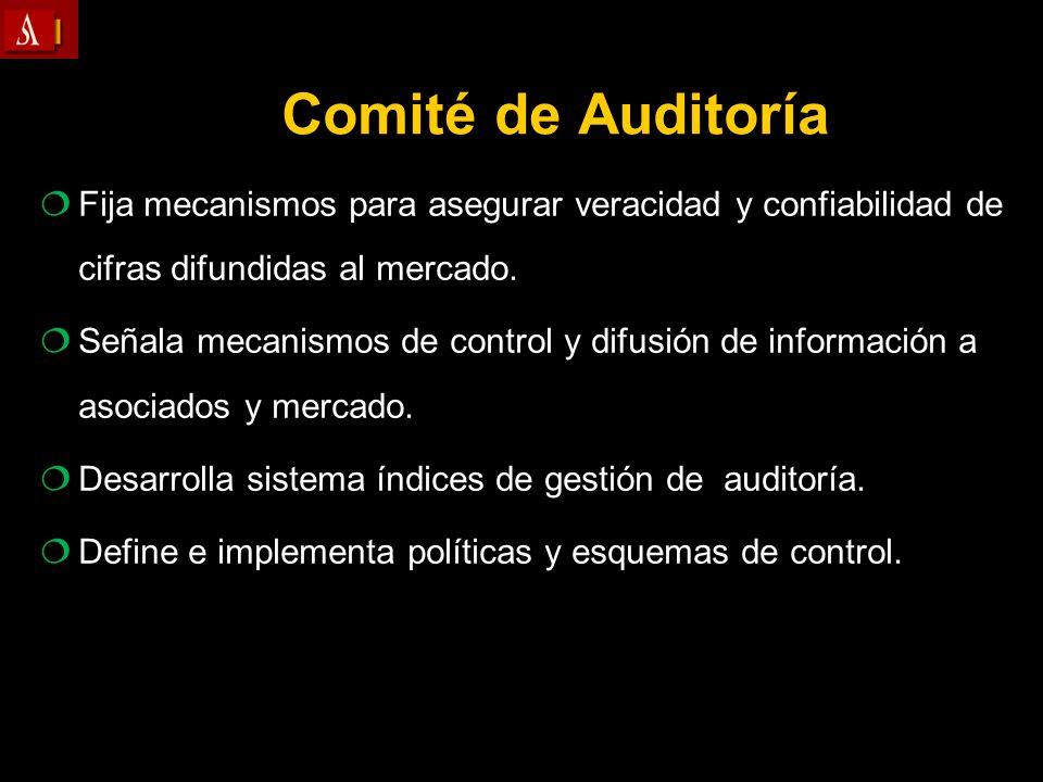Comité de AuditoríaFija mecanismos para asegurar veracidad y confiabilidad de cifras difundidas al mercado.