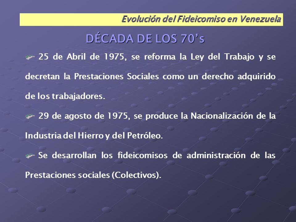 DÉCADA DE LOS 70's Evolución del Fideicomiso en Venezuela