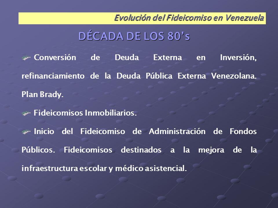 DÉCADA DE LOS 80's Evolución del Fideicomiso en Venezuela