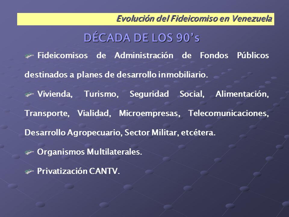 DÉCADA DE LOS 90's Evolución del Fideicomiso en Venezuela