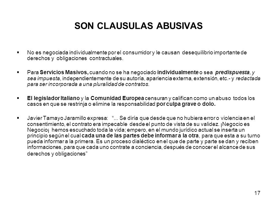 SON CLAUSULAS ABUSIVAS