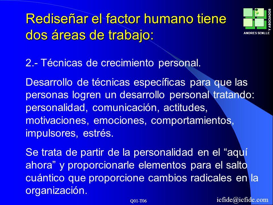 Rediseñar el factor humano tiene dos áreas de trabajo: