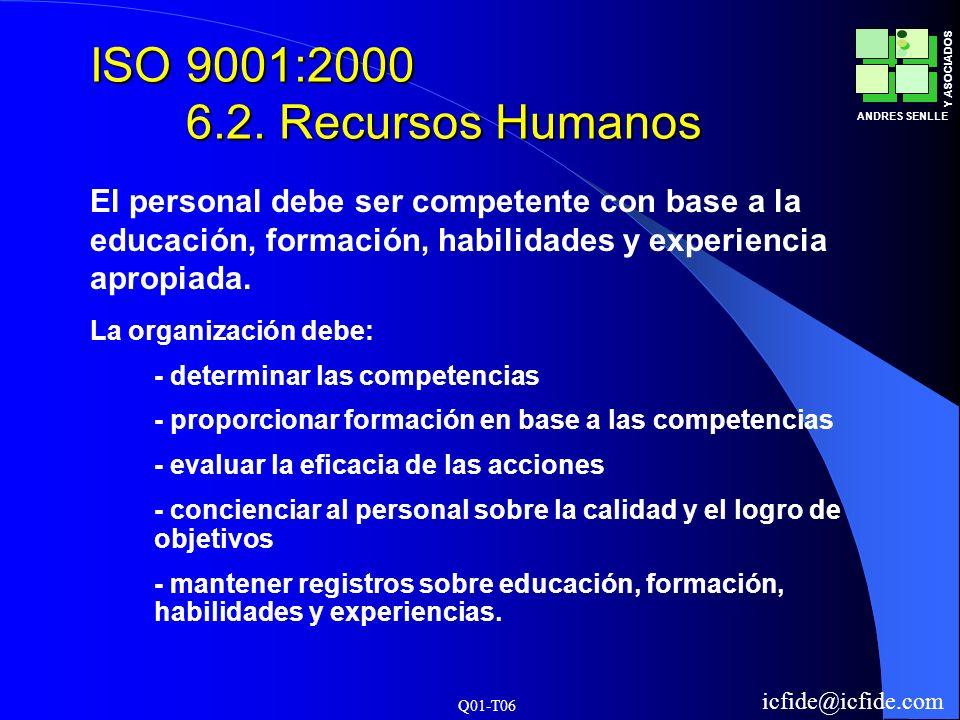 ISO 9001:2000 6.2. Recursos HumanosEl personal debe ser competente con base a la educación, formación, habilidades y experiencia apropiada.