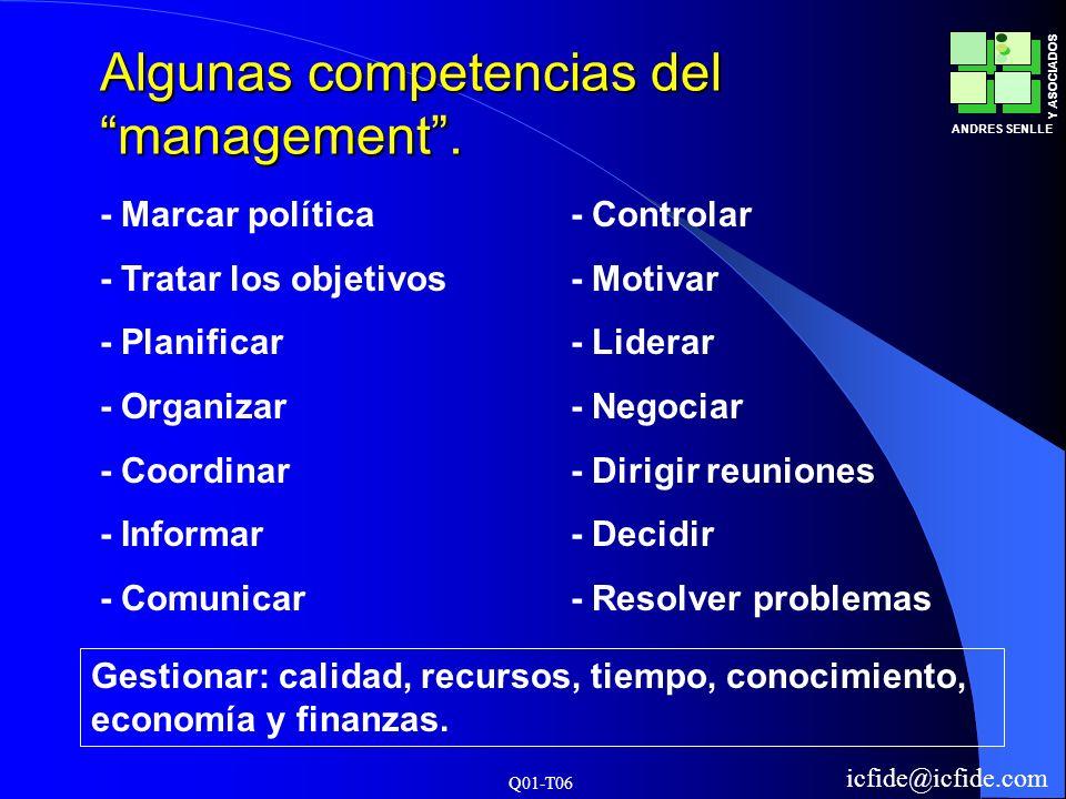 Algunas competencias del management .