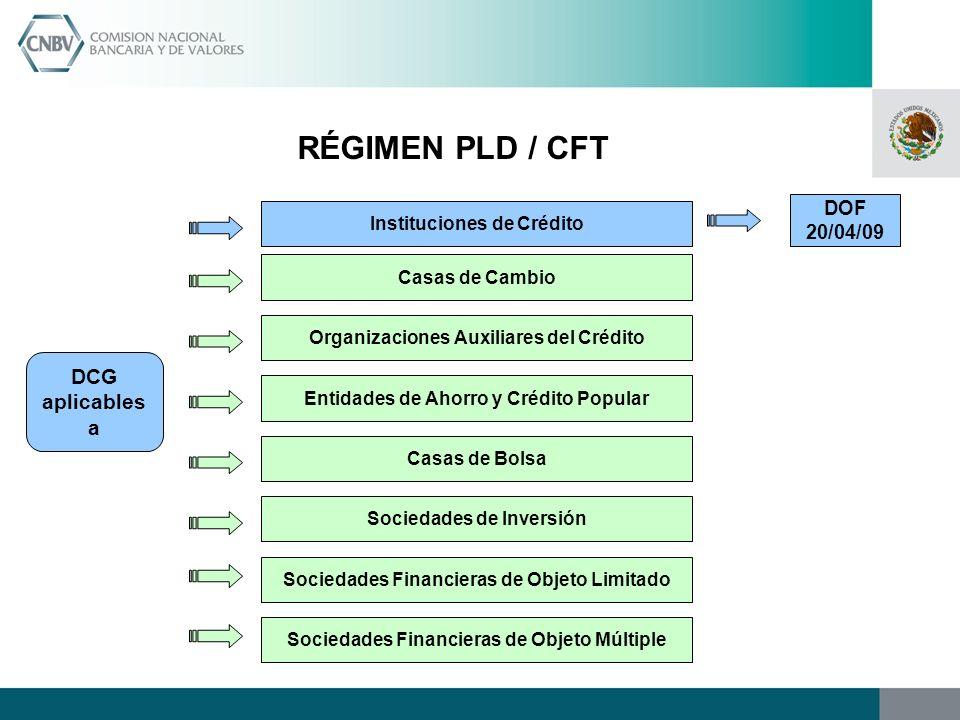 RÉGIMEN PLD / CFT DCG aplicables a DOF 20/04/09