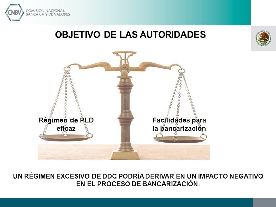 OBJETIVO DE LAS AUTORIDADES Facilidades para la bancarización