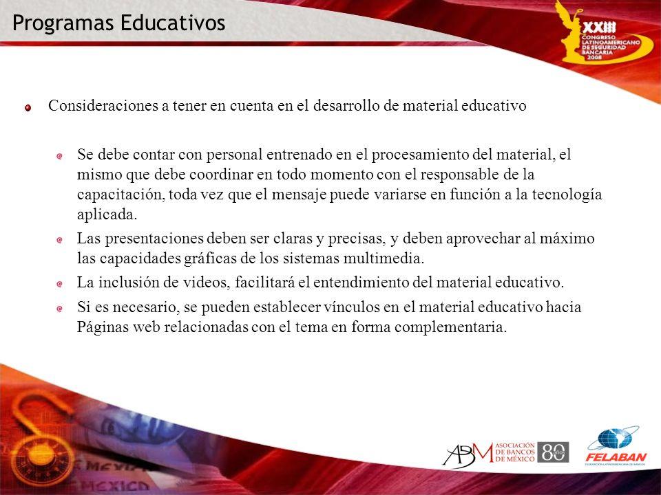 Programas Educativos Consideraciones a tener en cuenta en el desarrollo de material educativo.