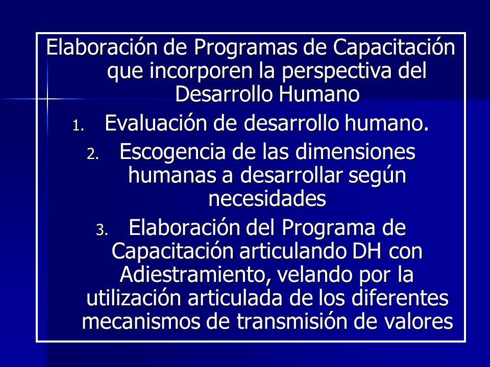 Evaluación de desarrollo humano.
