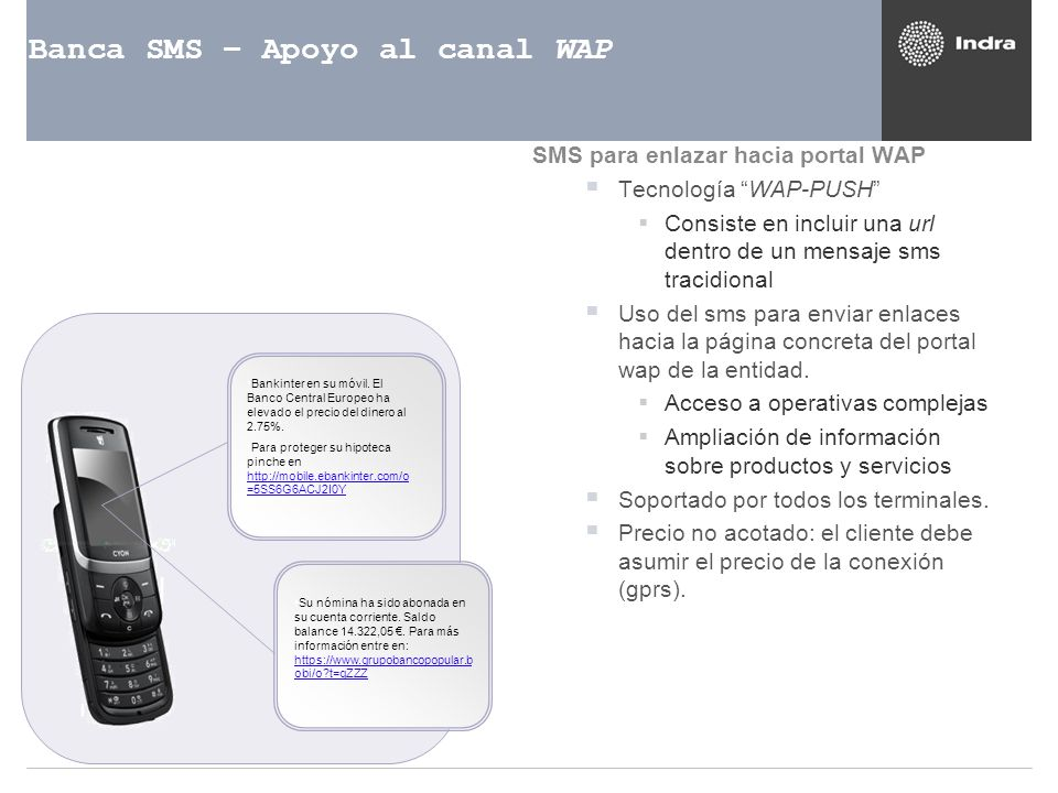 Banca SMS – Apoyo al canal WAP