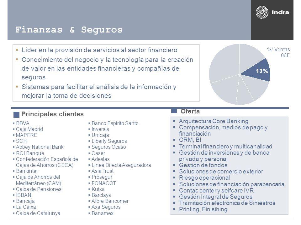 Finanzas & Seguros Líder en la provisión de servicios al sector financiero.