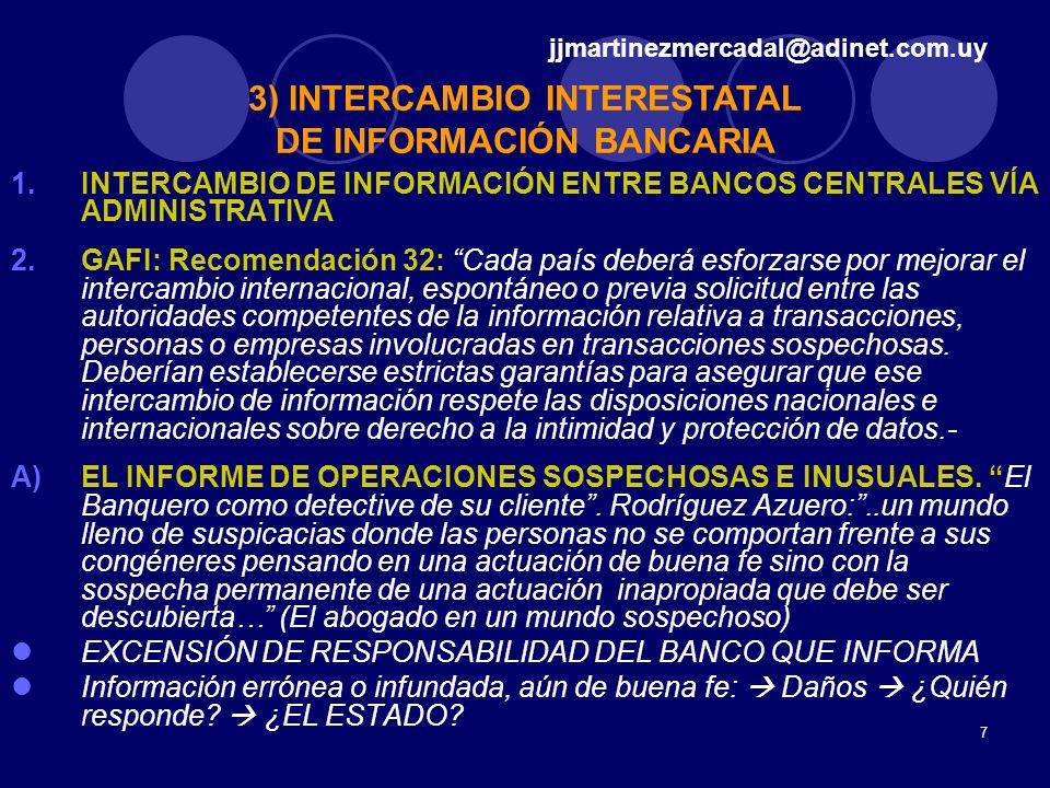 3) INTERCAMBIO INTERESTATAL DE INFORMACIÓN BANCARIA