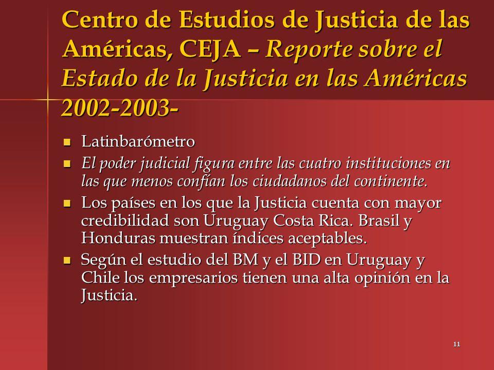 Centro de Estudios de Justicia de las Américas, CEJA – Reporte sobre el Estado de la Justicia en las Américas 2002-2003-